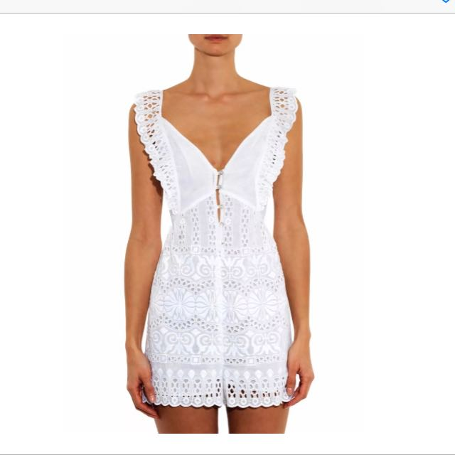 Zimmermann Porcelain Embroidered White Playsuit
