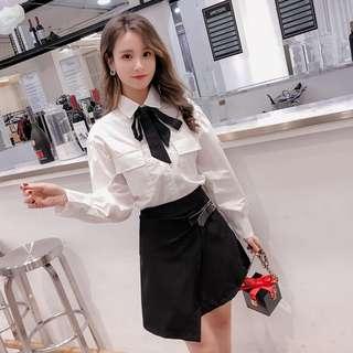 (M-L)春裝繫帶襯衫減齡套裝 學院風不規則短裙 簡約兩件式襯衫套