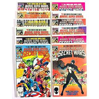Marvel Comics Secret Wars Complete 12 Issue Mini-Series Near Mint Condition First Appearance of Symbonite Costume ( Later becomes Venom)