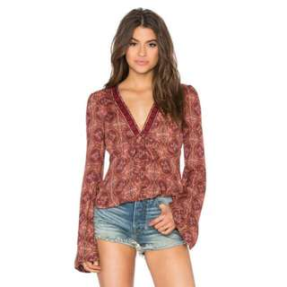 Free People Coral Combo Blouse