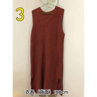毛衣針織背心裙 磚紅色