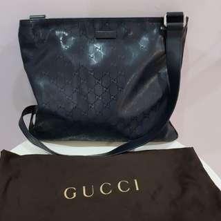 Gucci Black Monogrammed Coated Canvas Messenger Bag