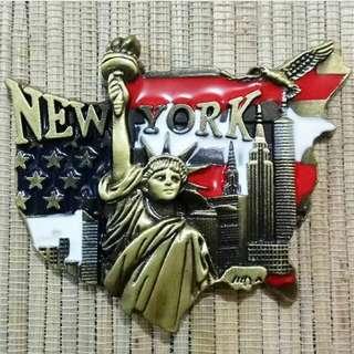 Magnet Kulkas Besi New York Libert Bendera