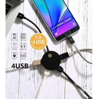 BNIB 4x multi usb port smart hub 120cm extent 2.1A