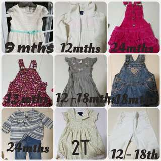 Assorted preloved baby girl clothing