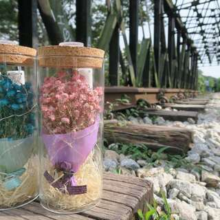 Dried baby breath flower bouquet with LED lighting & fairy light