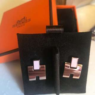 Hermes pink earrings NEW