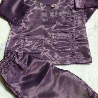 Baju Melayu colour dark purple budak