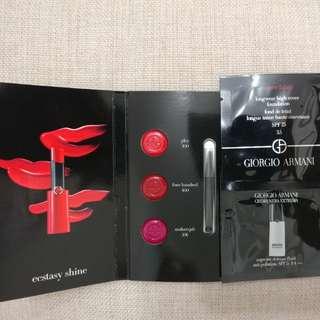 Giorgio Armani longwear high cover 1ml, supreme defense fluid 1ml, 3色唇膏試用裝連唇掃