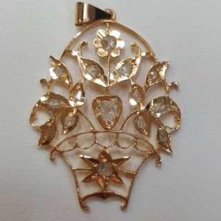 Peranakan Gold Intan Flower Basket Pendant