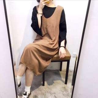 駝色針織背心洋裝