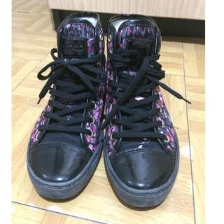 RED Valentino Black & Red Flower Sneaker high-Top