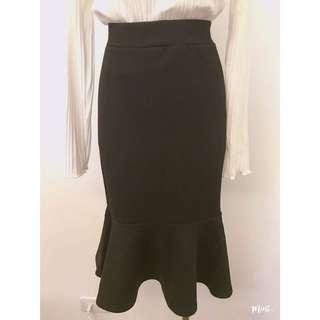 轉賣 韓國MINT氣質魚尾裙 黑色 棉質