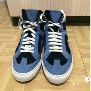 MM6 Maison Margiela blue mix leather sneakers high-top