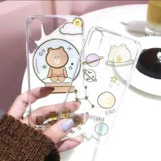 iPhone case 全包 膠殼 line friends brown 閃粉 星空 水晶球 情侶殼