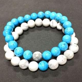 Distance bracelet set (TURQUOISE & HOWLITE) gemstones