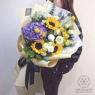 Queen size 鮮花束。紀念日畢業花