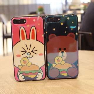iPhone case 軟殼全包邊 line friends 熊大 兔兔 情侶 藍光鏡面
