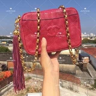 Chanel Vintage 桃紅色蜥蜴皮流蘇Camera Bag