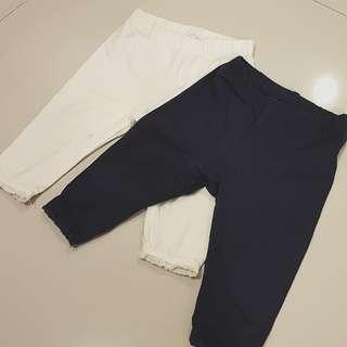 Baby legging 2 pcs white & navy