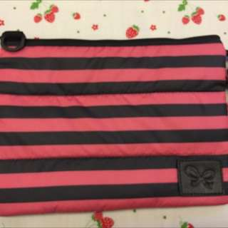 喜舖 CiPU 桃紅條紋雙層斜背包