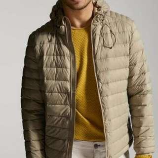 Massimo Dutti Beige Hoodie Down Puffer Jacket