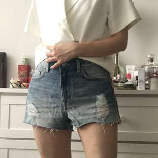 H&M coachella ethnic ripped denim shorts