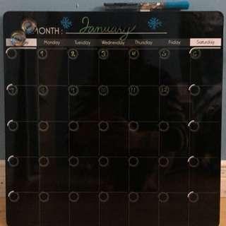 Dry Erase Calendar + 4 neon dry erase markers!