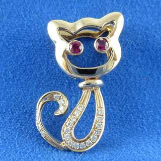 KALVION 18K/750 玫瑰色黃金紅寳鑽石吊墜 - 蹲坐貓