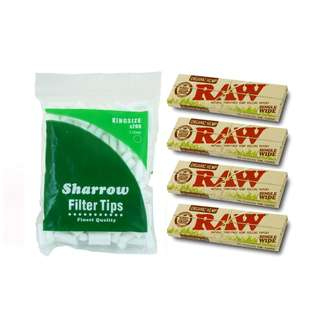(A2)手捲煙濾咀+煙紙組合 / 1x Sharrow King Size Filter Tips + 4x RAW Organic Hemp Single Wide Rolling Papers