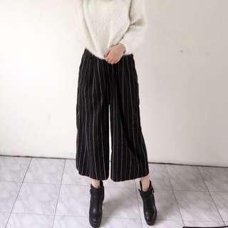 🚚 黑色條紋寬褲