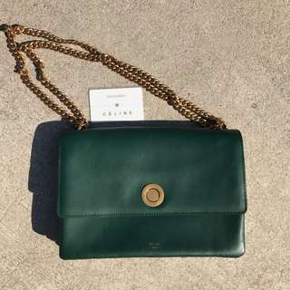 Authentic Celine - Green Coin Flap Chain Bag (Preloved)