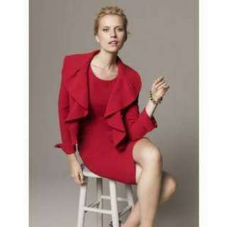 Kasper Red 2pc Lined Sheath Dress With Open Front Ruffled Jacket