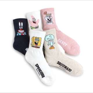 5 SET Spongebob Crew Socks