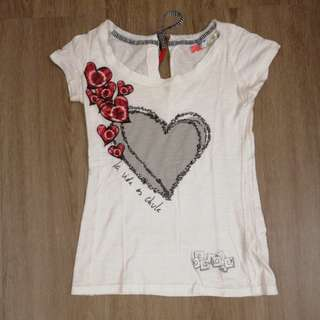 Desigual Cream Heart Shirt