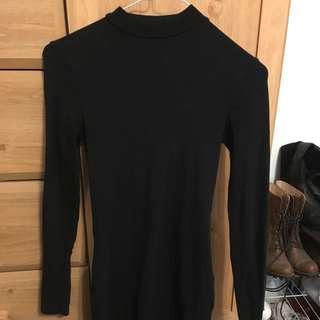 Black mock neck long sleeve bodycon dress