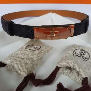 New Hermes Kelly belt (1 size fits all adjustable) Black Epsom with RGHW