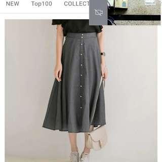 排扣珍珠小格紋長裙