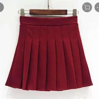 酒紅色百褶裙