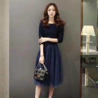 深藍 七分袖 五分袖 拼接 紗裙 洋裝 釘珠 珠珠尾牙 春酒 喜宴 禮服