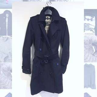 Burberry Kensington Black Trench Long