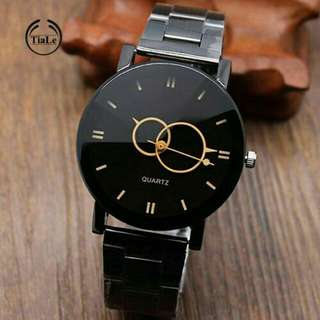Black Alloy Band Analog Wrist Watch