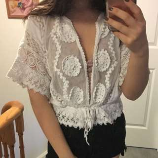 Zara Lace white cover up