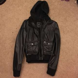Obey leather jacket w hoodie inside size m