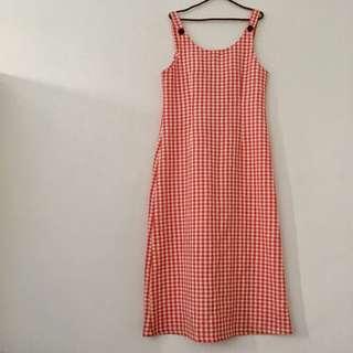 Vintage 古著紅白格紋吊帶裙(實體看圖4)