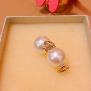 Heart Gold Zirconia with Pearls ear nut