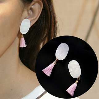 Anting jepit retro geometric acrylic tassel ear clip