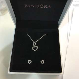Pandora necklace and earring