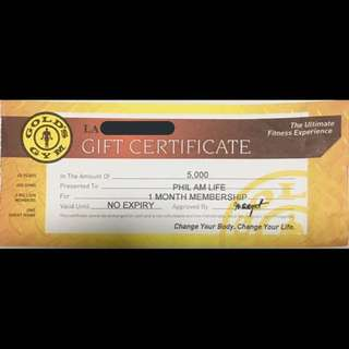 Php 5000 Gold's Gym Gift Certificate