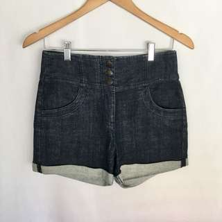 Sportsgirl Sz 9 High-Waisted Denim Shorts